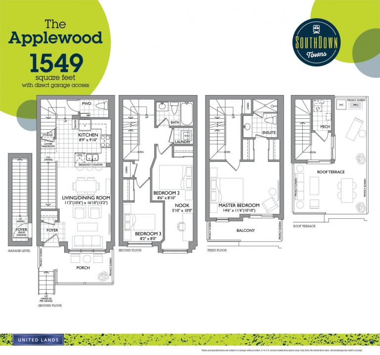 Applewood - 3B - 1549 Sqft - Southdown Towns