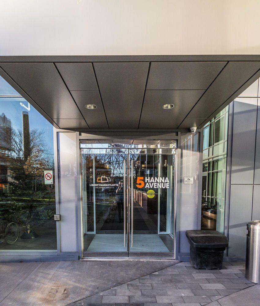 5-hanna-ave-toronto-lofts-for-sale-liberty-market-lofts-front-entrance-2