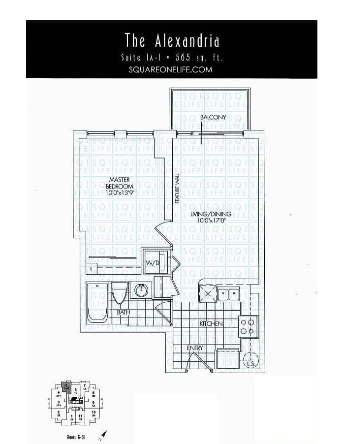 388-Prince-Of-Wales-Dr-One-Park-Tower-Condo-Floorplan-The-Alexandria-1-Bed-1-Bath