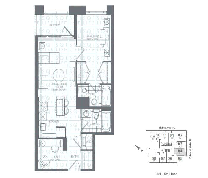 Limelight-Condo-365-Prince-Of-Wales-360-Square-One-Dr-Floorplan-Apple-1-Bed-1-Den-1-Bath