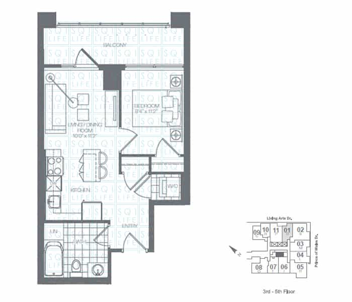 Limelight-Condo-365-Prince-Of-Wales-360-Square-One-Dr-Floorplan-Clover-1-Bed-1-Bath