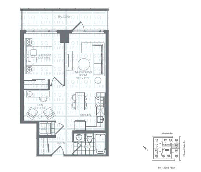 Limelight-Condo-365-Prince-Of-Wales-360-Square-One-Dr-Floorplan-Emerald-1-Bed-1-Den-1-Bath