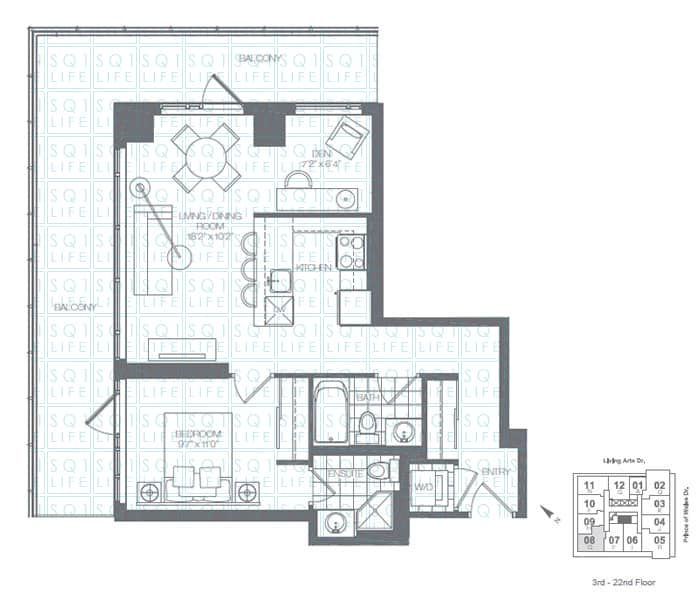 Limelight-Condo-365-Prince-Of-Wales-360-Square-One-Dr-Floorplan-Fern-1-Bed-1-Den-2-Bath