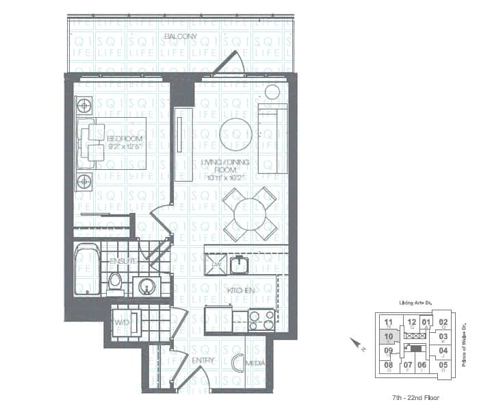 Limelight-Condo-365-Prince-Of-Wales-360-Square-One-Dr-Floorplan-Holly-1-Bed-1-Bath