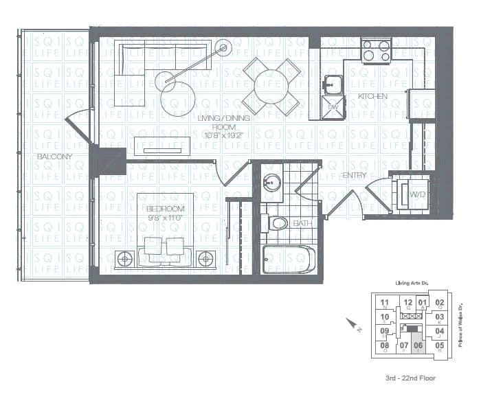 Limelight-Condo-365-Prince-Of-Wales-360-Square-One-Dr-Floorplan-Honeydew-1-Bed-1-Bath