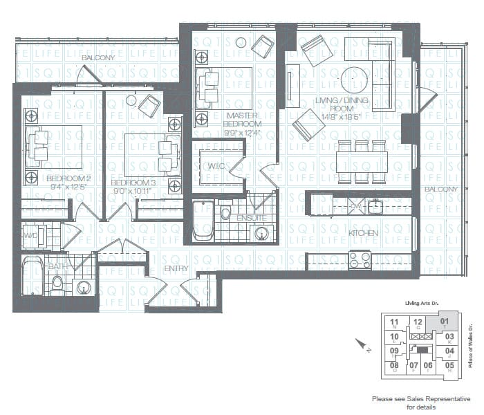 Limelight-Condo-365-Prince-Of-Wales-360-Square-One-Dr-Floorplan-Hunter-3-Bed-2-Bath