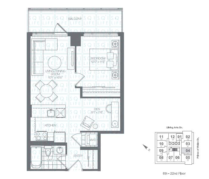 Limelight-Condo-365-Prince-Of-Wales-360-Square-One-Dr-Floorplan-Kelly-1-Bed-1-Den-1-Bath