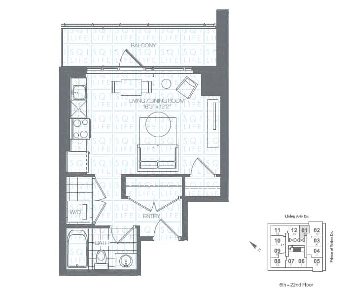 Limelight-Condo-365-Prince-Of-Wales-360-Square-One-Dr-Floorplan-Kiwi-0-Bed-1-Bath