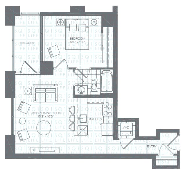 Limelight-Condo-365-Prince-Of-Wales-360-Square-One-Dr-Floorplan-Lily-1-Bed-1-Bath