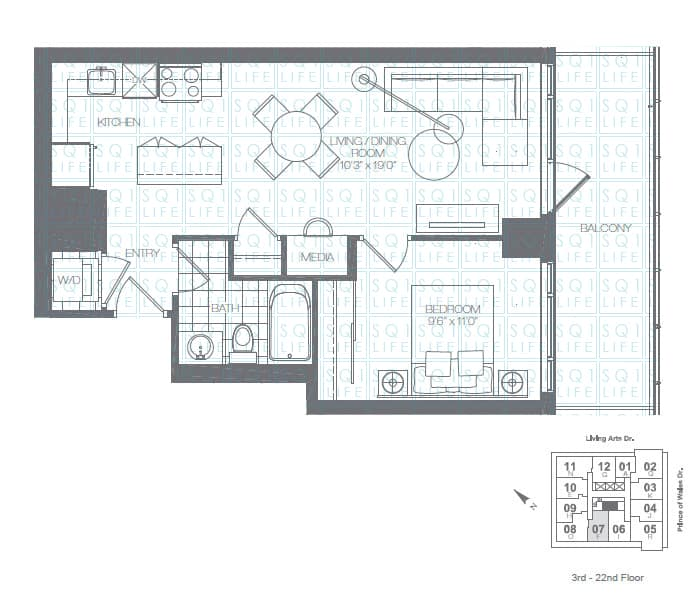 Limelight-Condo-365-Prince-Of-Wales-360-Square-One-Dr-Floorplan-Mint-1-Bed-1-Bath
