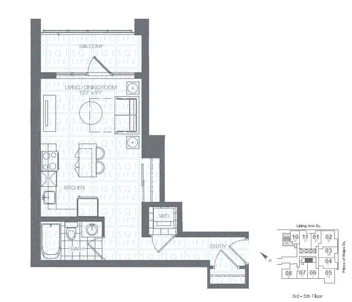 Limelight-Condo-365-Prince-Of-Wales-360-Square-One-Dr-Floorplan-Olive-0-Bed-1-Bath