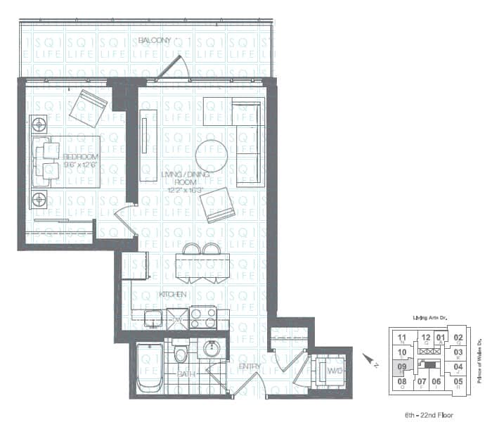 Limelight-Condo-365-Prince-Of-Wales-360-Square-One-Dr-Floorplan-Pine-1-Bed-1-Bath