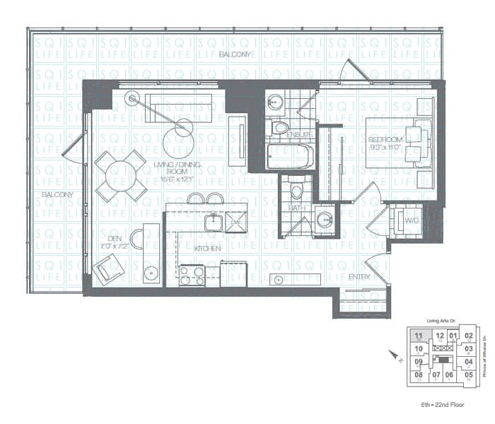 Limelight-Condo-365-Prince-Of-Wales-360-Square-One-Dr-Floorplan-Shamrock-1-Bed-1-Den-2-Bath