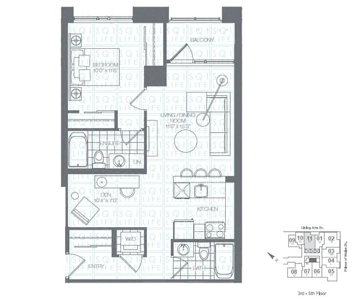 Limelight-Condo-365-Prince-Of-Wales-360-Square-One-Dr-Floorplan-Spring-1-Bed-1-Den-2-Bath
