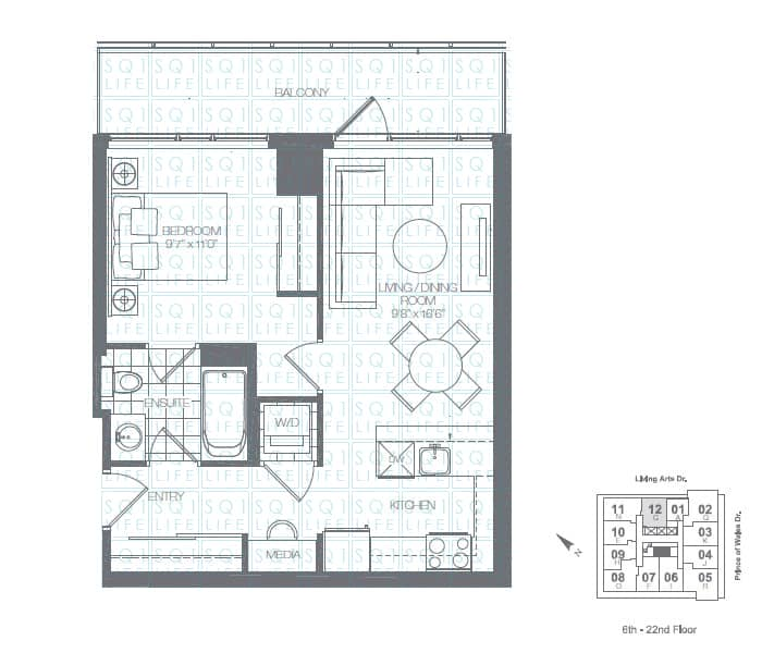 Limelight-Condo-365-Prince-Of-Wales-360-Square-One-Dr-Floorplan-Spruce-1-Bed-1-Bath