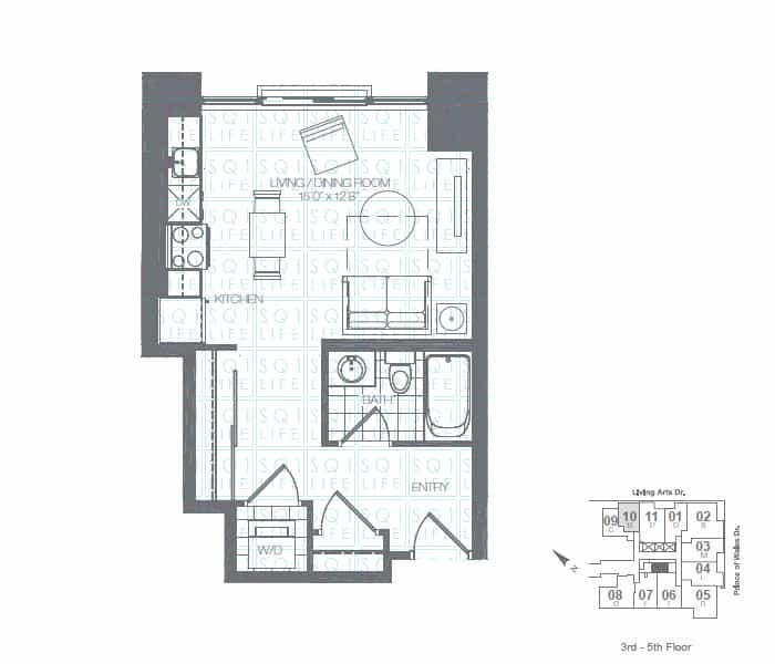 Limelight-Condo-365-Prince-Of-Wales-360-Square-One-Dr-Floorplan-Teal-0-Bed-1-Bath