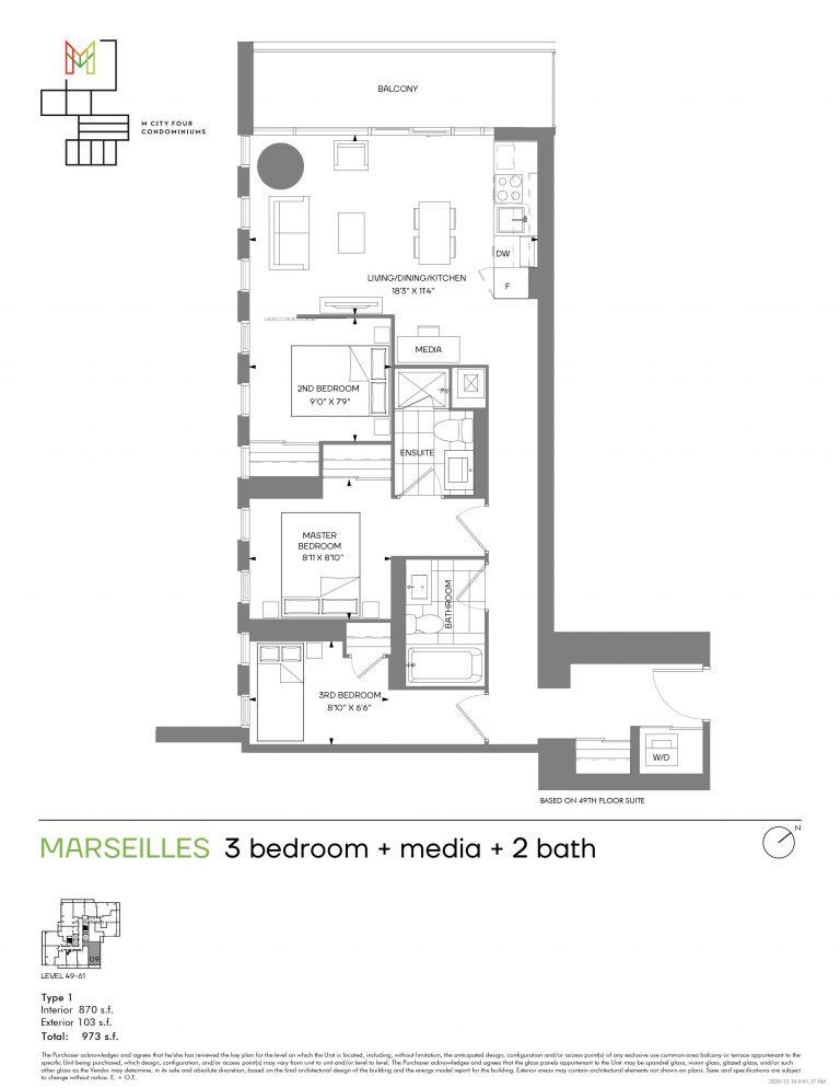 Marseilles - 3B+M - 870 Sqft - M4