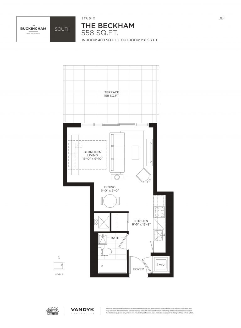 Beckham - Studio - 400 Sqft - The Buckingham South