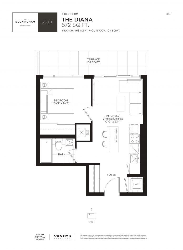 Diana - 1B - Terrace - 468 Sqft - The Buckingham South