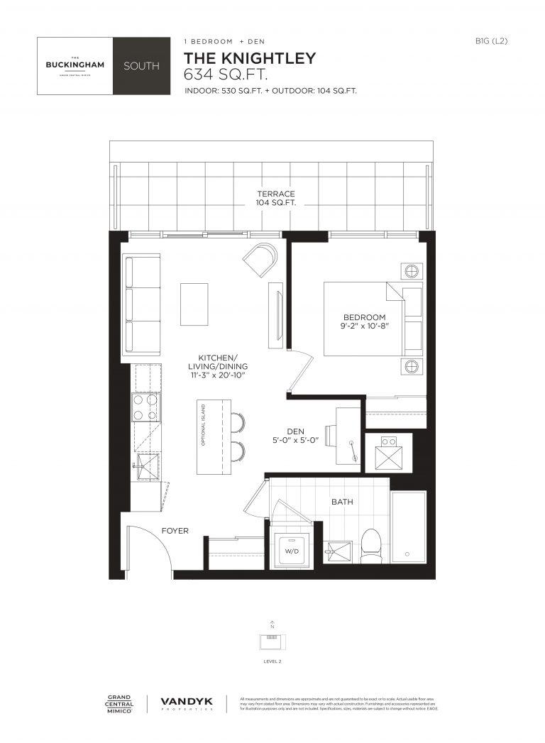 Knightly - 1B+D - Terrace - 530 Sqft - The Buckingham South