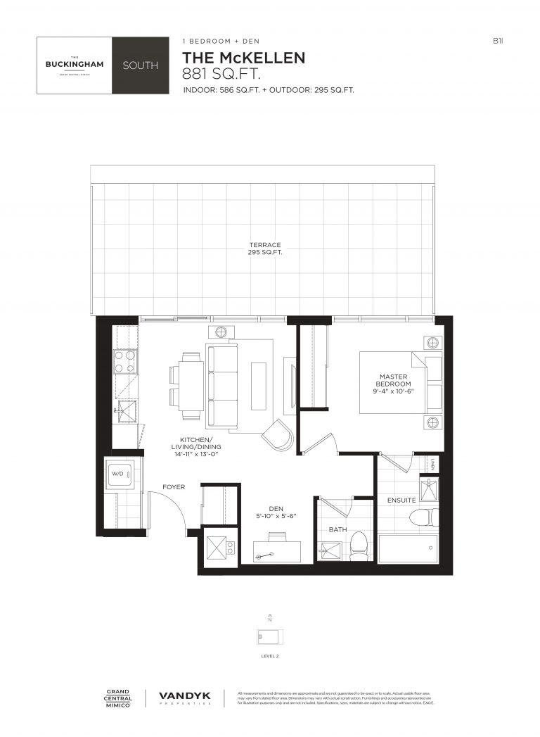 McKellen - 1B+D - Terrace - 586 Sqft - The Buckingham South