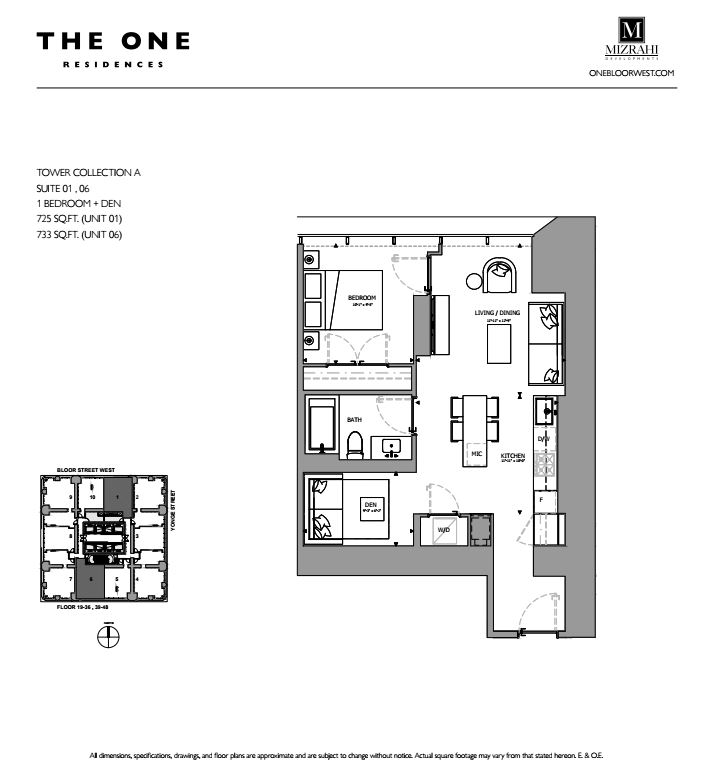 Suite 01 - 1B+D - 725 Sqft - Tower Collection A - The One