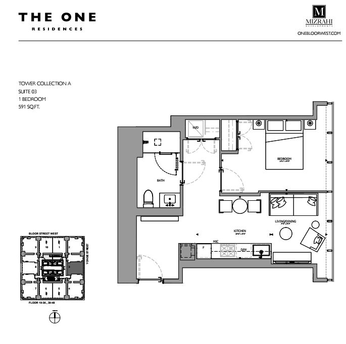 Suite 03 - 1B - 591 Sqft - Tower Collection A - The One