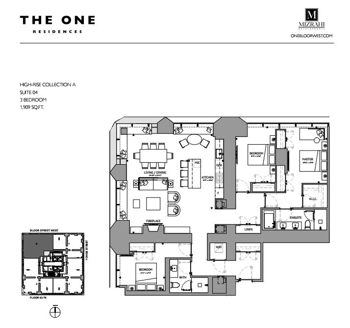 Suite 04 - 3B - 1909 Sqft - Hi-Rise Collection A - The One