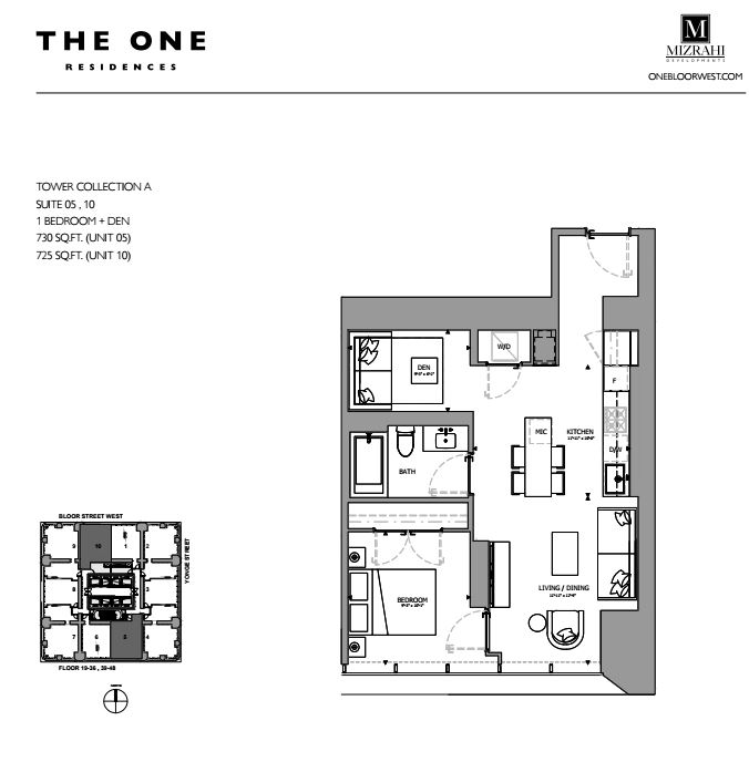 Suite 10 - 1B+D - 725 Sqft - Tower Collection A - The One