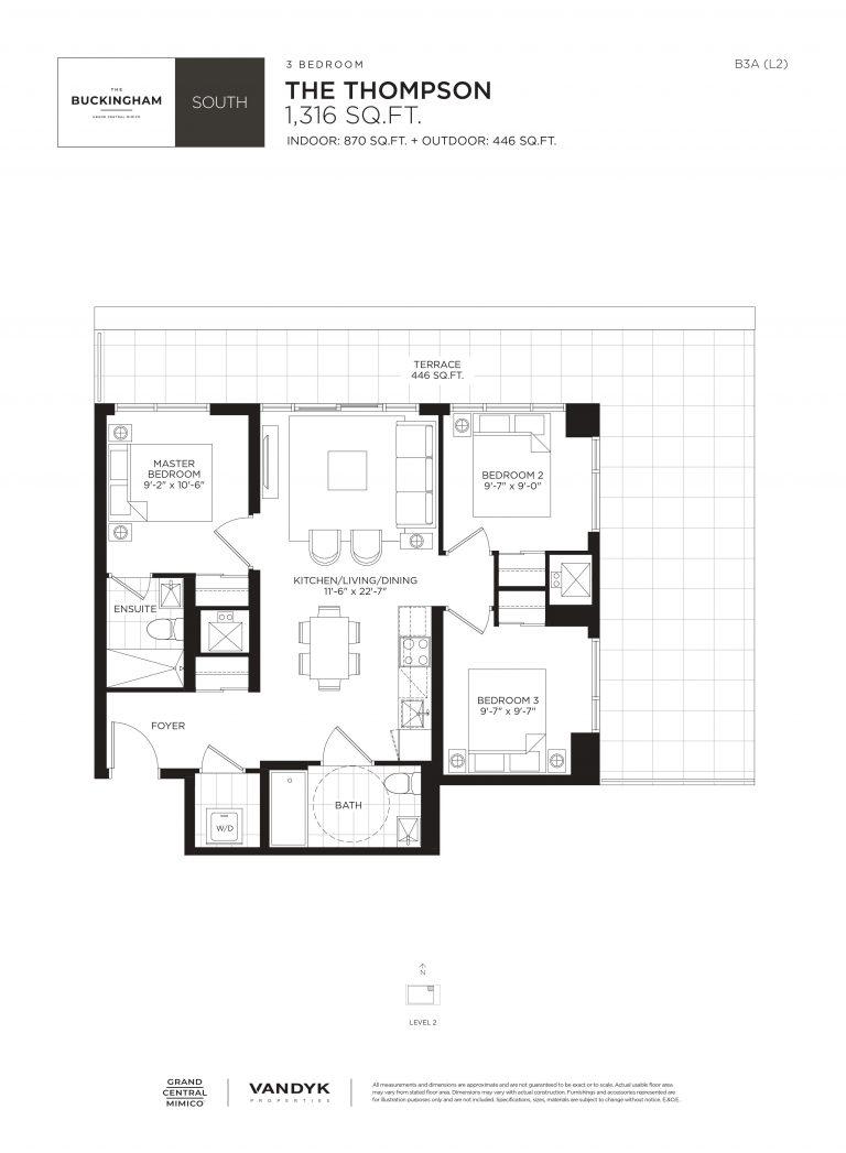 Thompson - 3B - Terrace - 870 Sqft - The Buckingham South