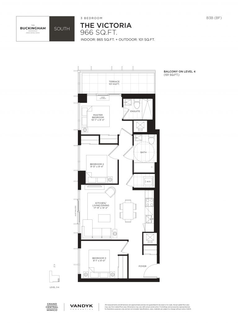 Victoria - 3B - Terrace - 865 Sqft - The Buckingham South