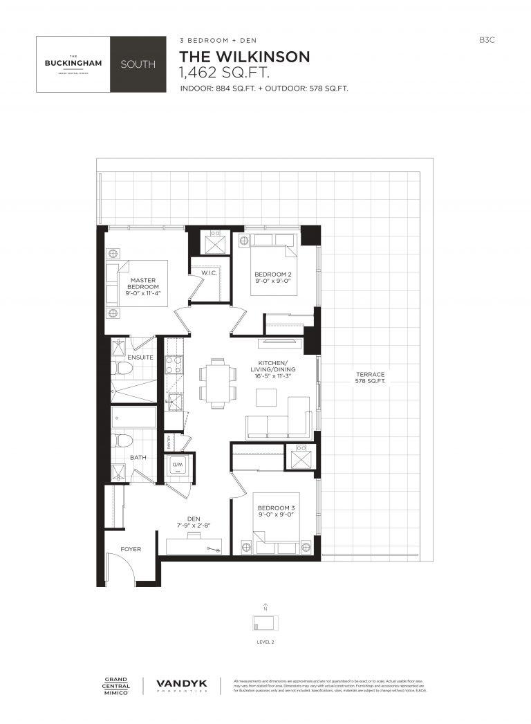 Wilkinson - 3B+D - Terrace - 884 Sqft - The Buckingham South