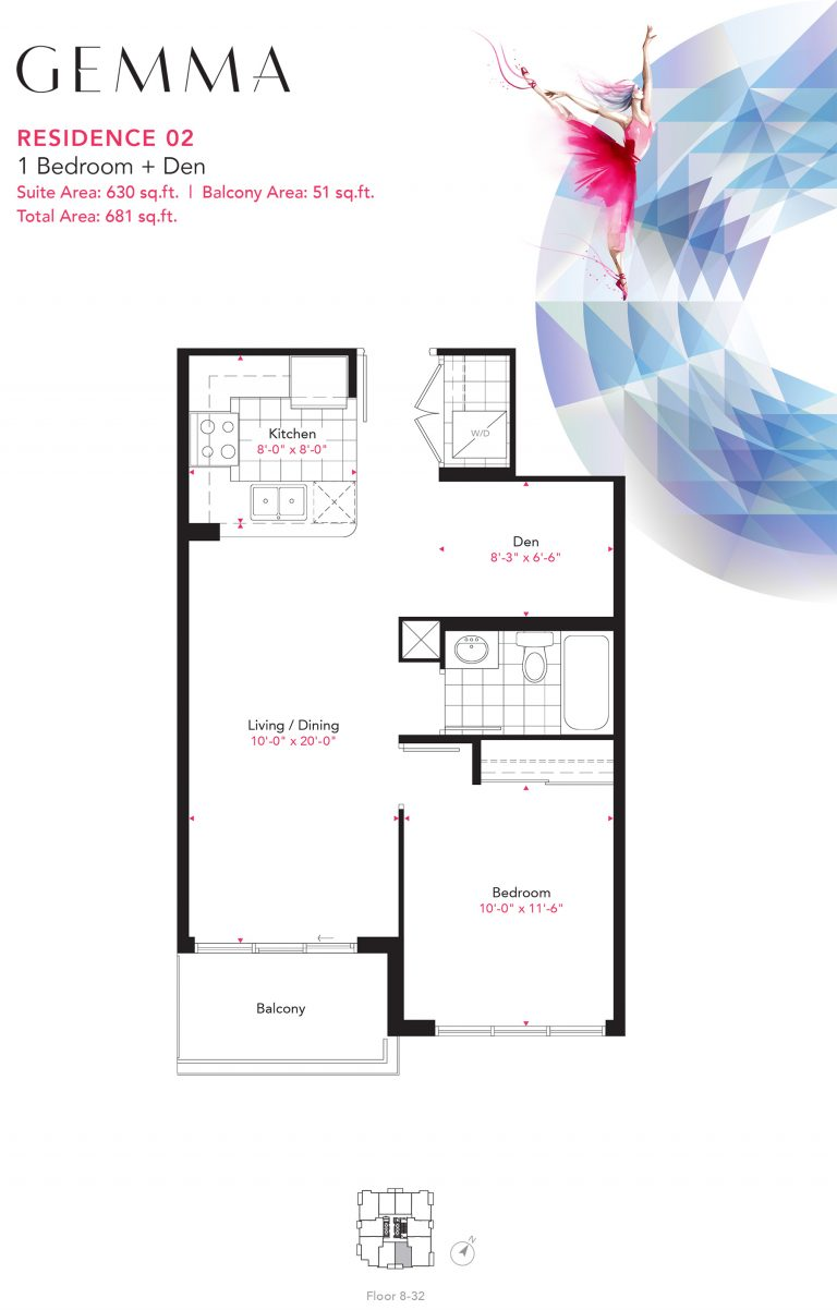 Residence 02 - 1B+D - 630 Sqft - Gemma