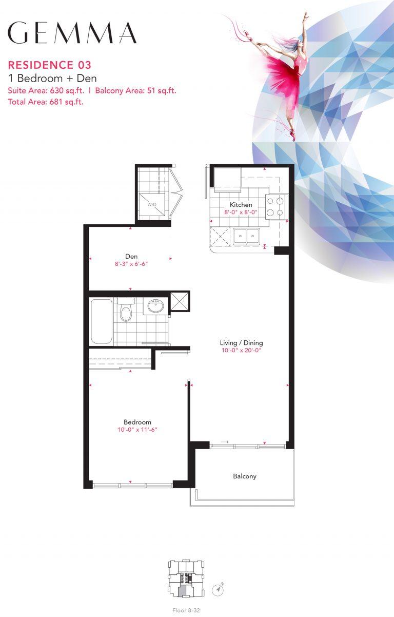 Residence 03 - 1B+D - 630 Sqft - Gemma