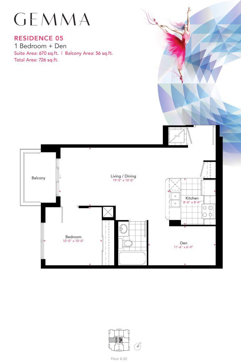 Residence 05 - 1B+D - 670 Sqft - Gemma