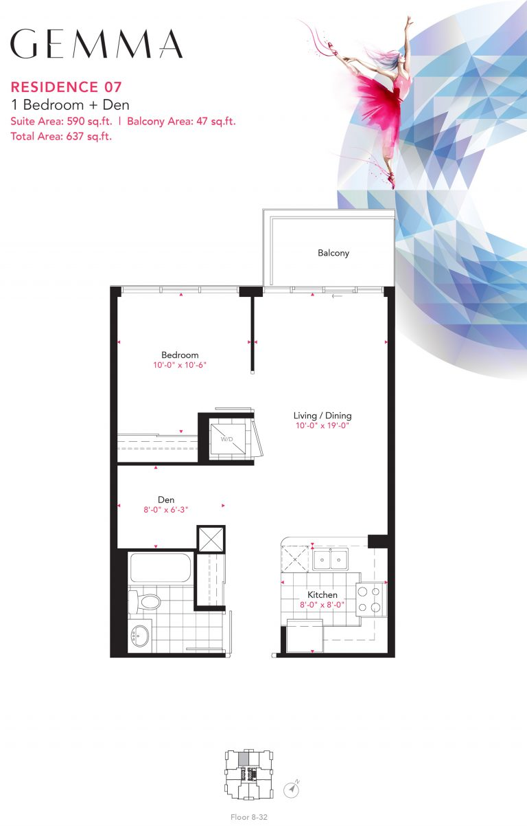 Residence 07 - 1B+D - 590 Sqft - Gemma
