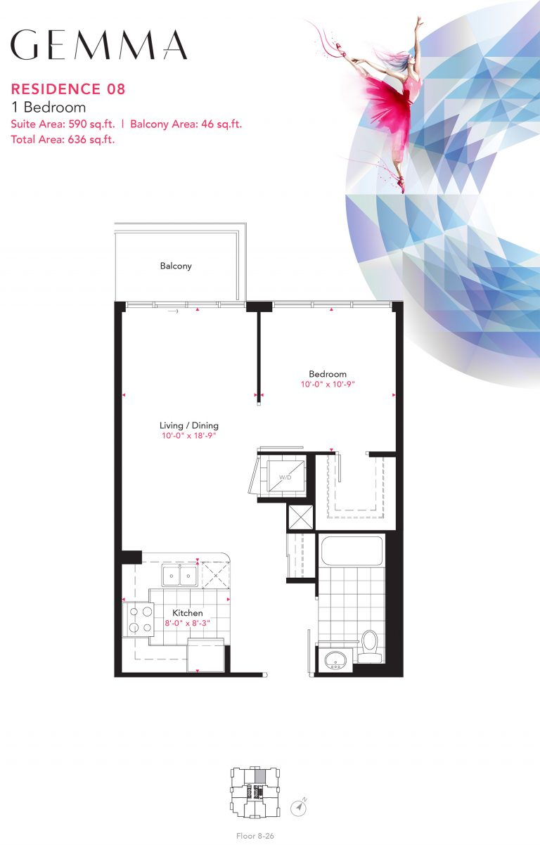 Residence 08 - 1B - 590 Sqft - Gemma