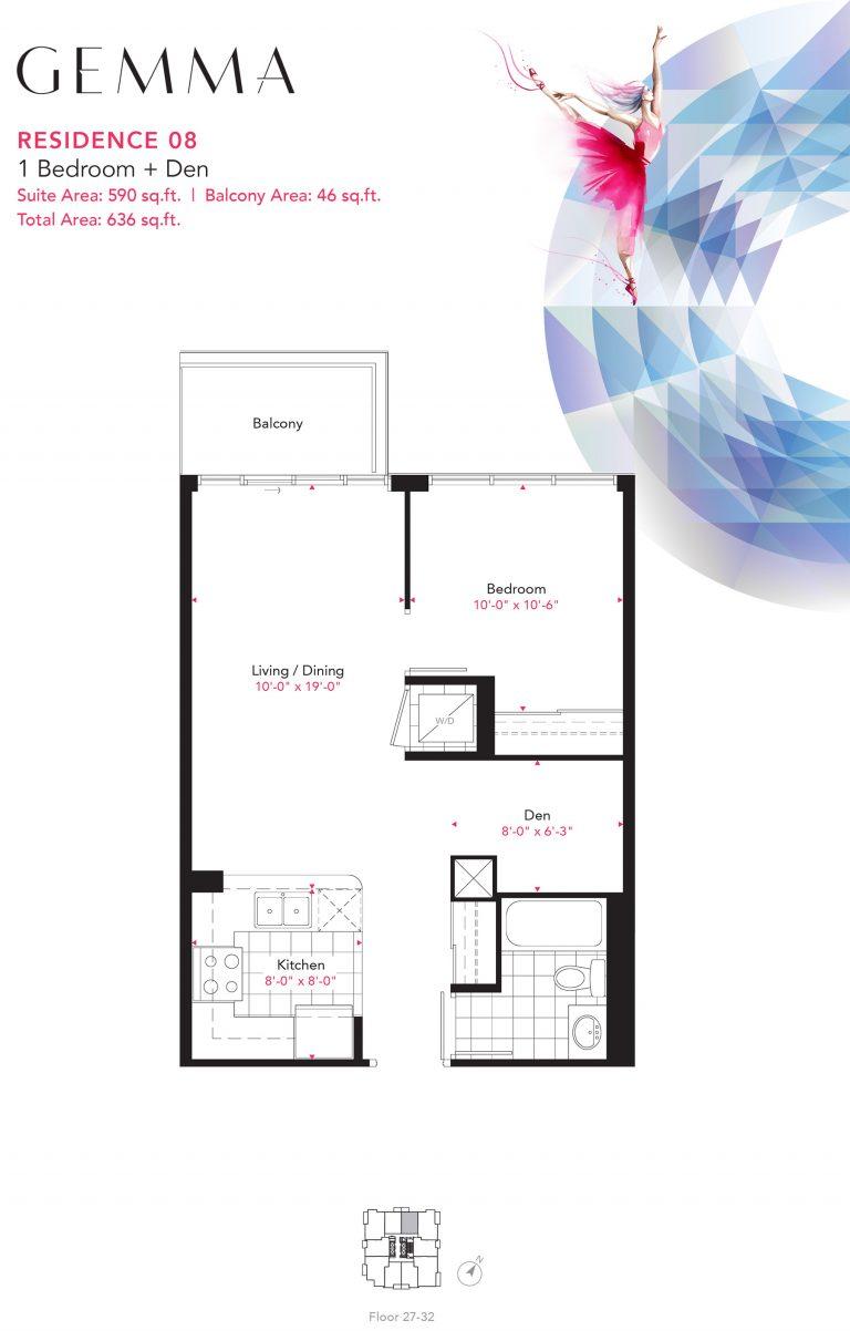 Residence 08 - 1B+D - 590 Sqft - Gemma